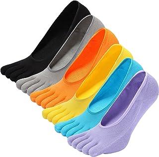 Calcetines con cinco 5 dedos para Hombre Mujer, calcetines antideslizantes Invisible,separados cómodo calcetines,calcetines de deporte