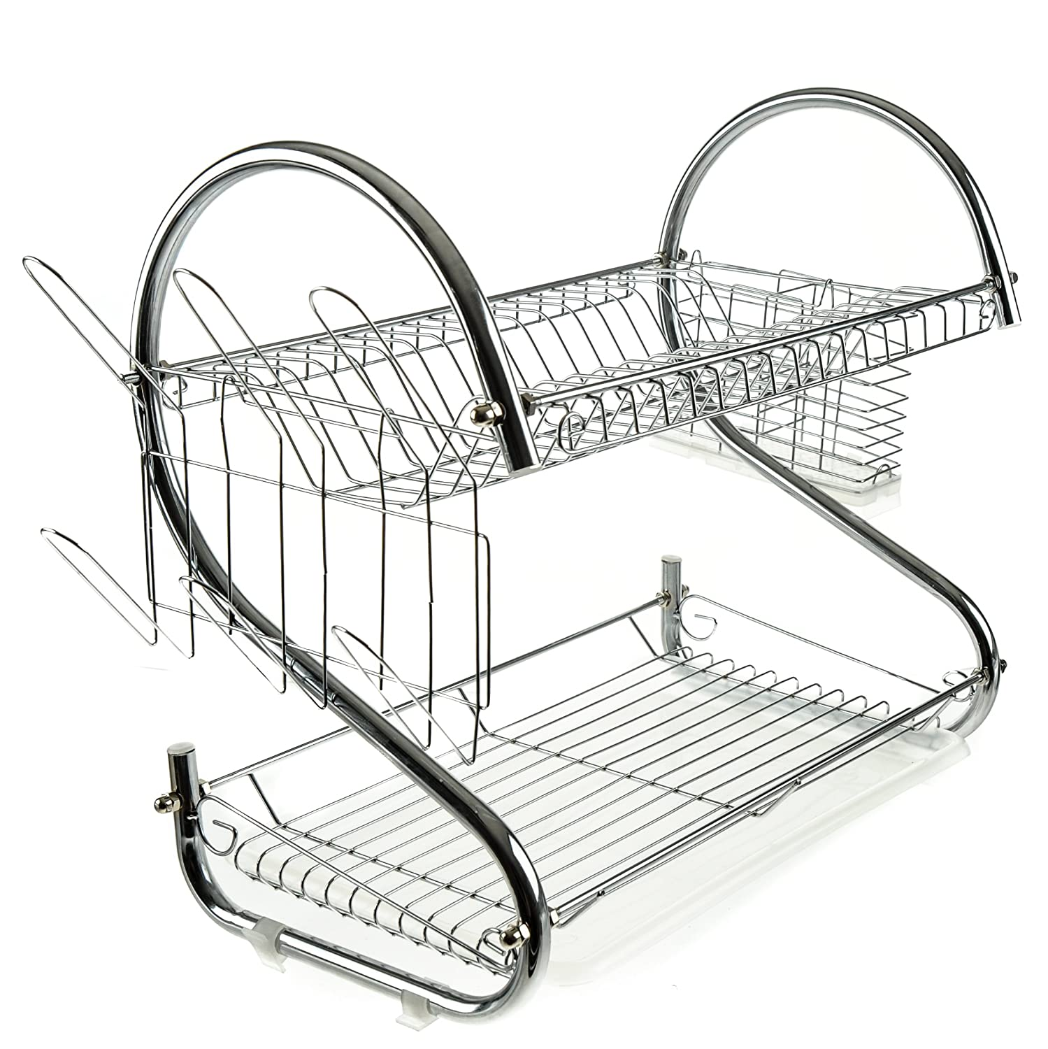 Handi-Ware Dish Drainer Rack - Two Tier - Chrome Plated Steel - Modern Design - Super S - Removable Accessories Included: Cutlery Basket, Cup Drainer, & Drip Tray - by Unity