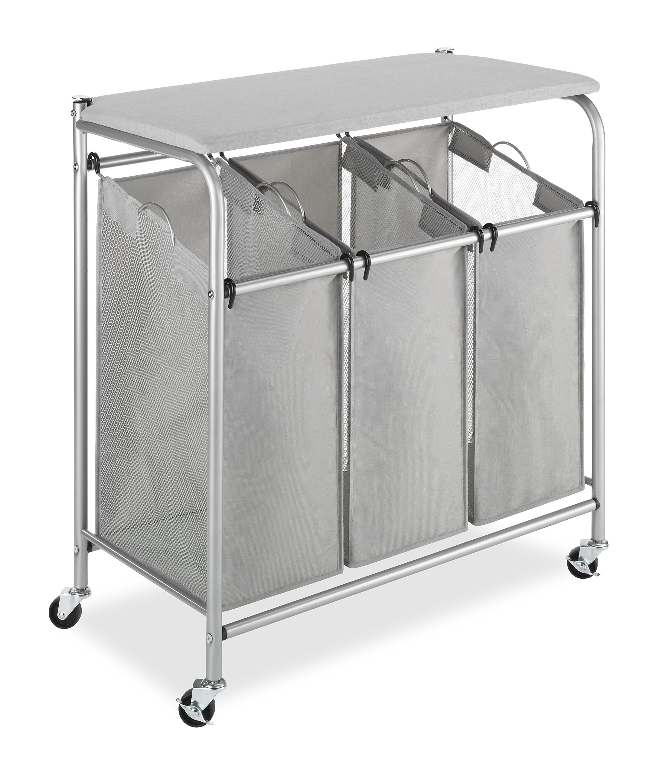 Whitmor 3 Section Rolling Laundry Sorter with Folding Station - Ironing Board by Whitmor