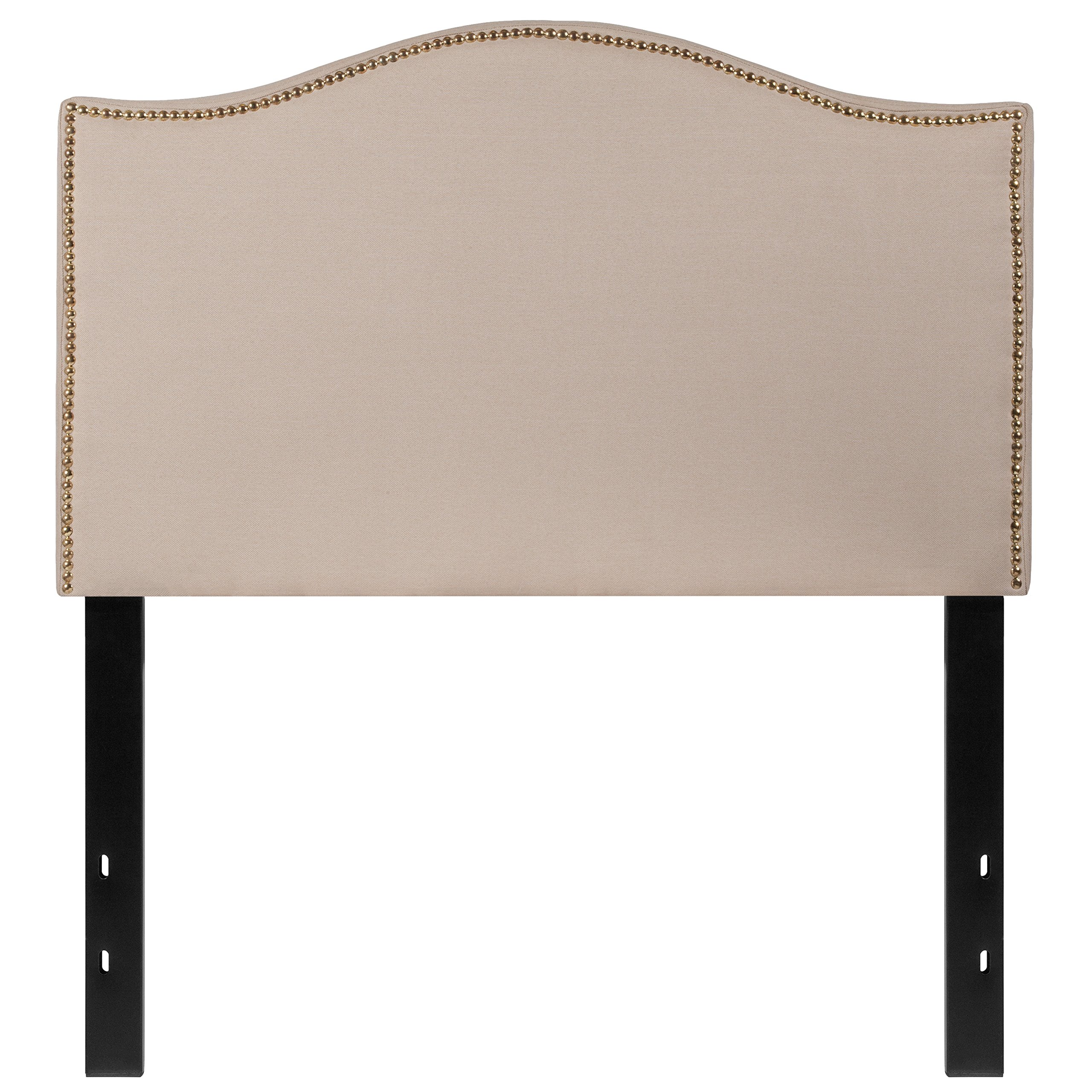 Flash Furniture Lexington Upholstered Twin Size Headboard with Decorative Nail Trim in Beige Fabric