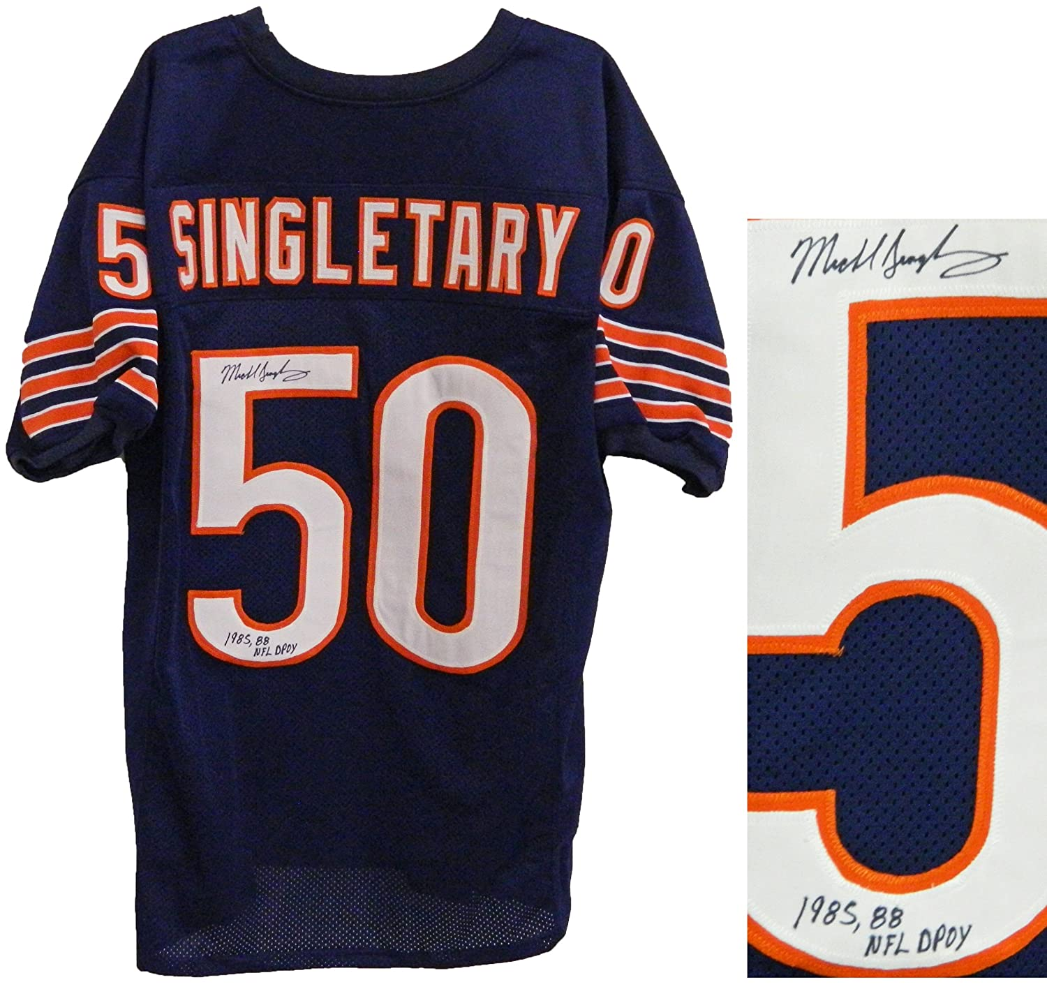 the best attitude 6b255 89271 Mike Singletary Signed Navy Custom Throwback Jersey w/1985 ...