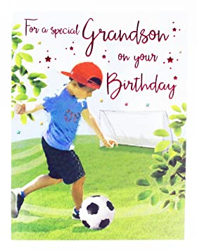 Happy Birthday Greeting Card For Special Grandson Football Verse