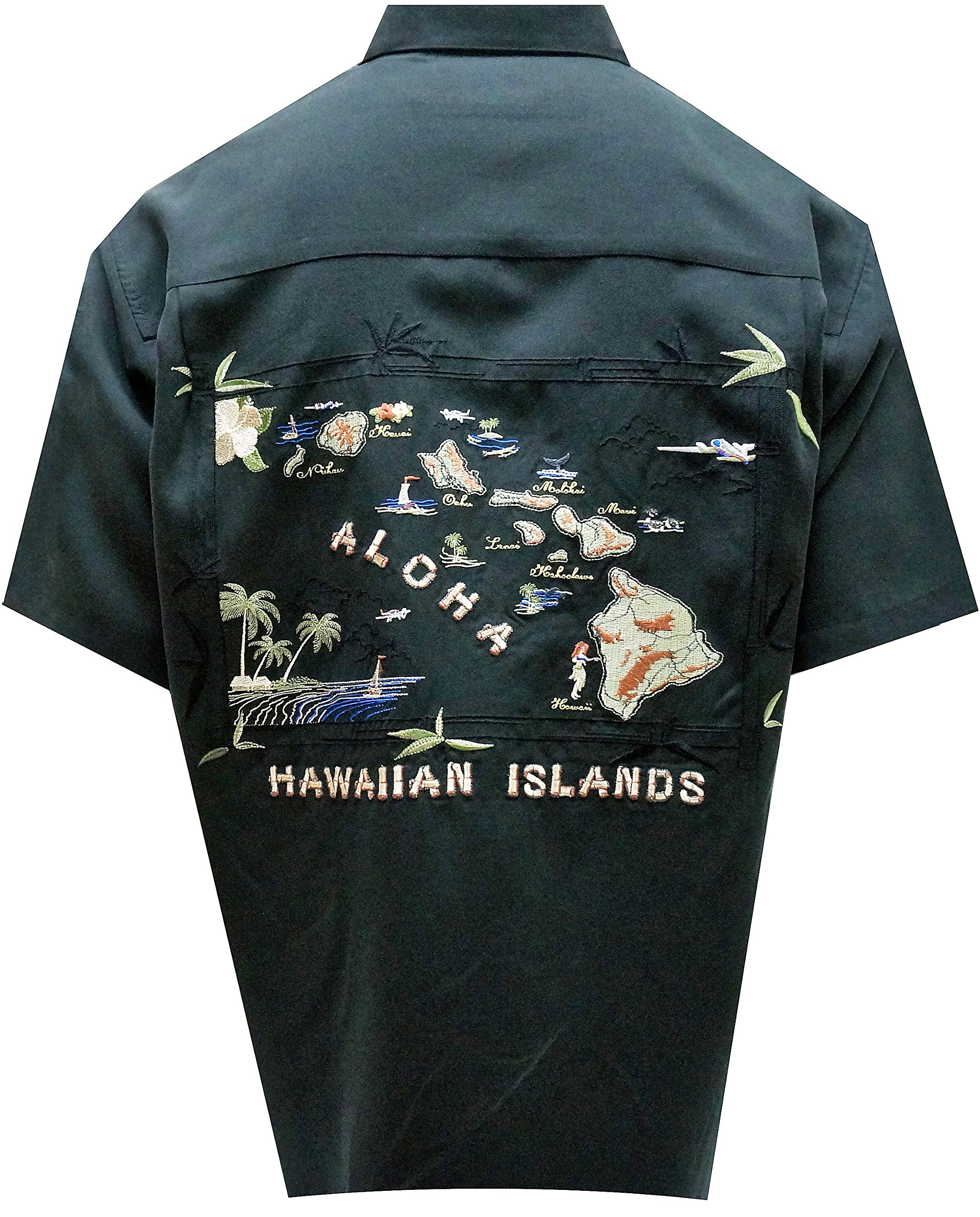 Bamboo Cay Men's Hawaiian Islands, Tropical Embroidered Camp Shirt (X-Large, Black)