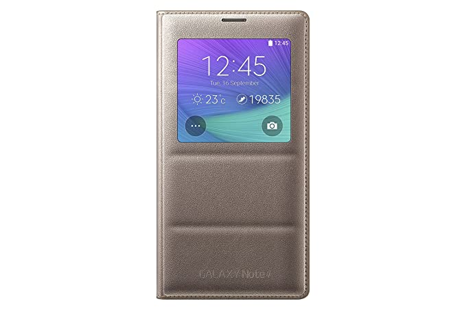 big sale 273b1 df34a Samsung Galaxy Note 4 Case, S-View Flip Cover Folio Case - Bronze Gold
