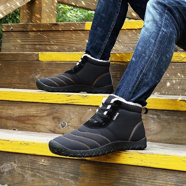 Saguaro® Hombre Mujer Botas de Nieve Antideslizante Calientes Botines Forradas Cortas Tobillo Boots Cordones Planas Invierno Zapatos,Negro 40