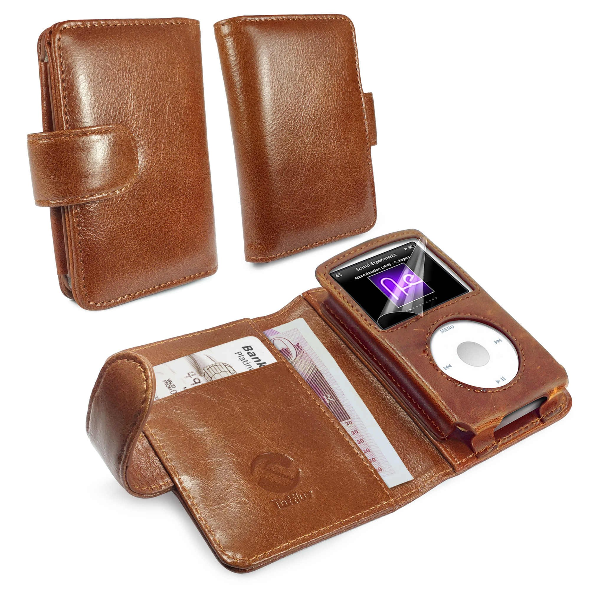 Tuff-Luv Vintage Genuine Leather Wallet case Cover for iPod Classic - Brown