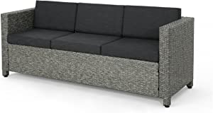 Christopher Knight Home Puerta Outdoor Wicker 3-Seater Sofa, Mix Black / Dark Grey Cushion
