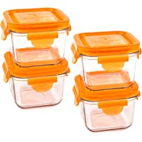 Wean Green Snack Cubes Tempered Glass Food Containers Carrot Set of 4