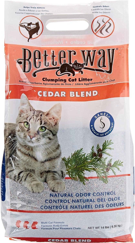Better Way Cedar Formula Clumping Bentonite Cat Litter with Sanel Cat Attractant 14 lbs