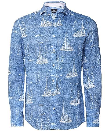 eefc75145e6 Hackett Men's Slim Fit Linen Blend Sail Boat Shirt Blue: Amazon.co.uk:  Clothing