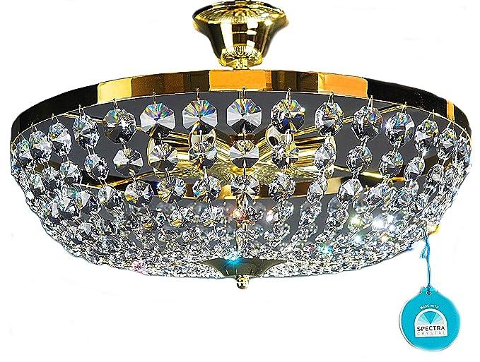 Plafoniere In Cristallo Miglior Prezzo : Lampadario plafoniera o cm luci colore dorato cristallo di