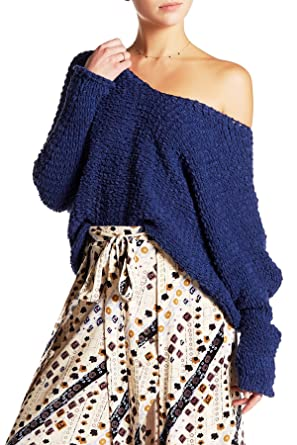 Free People Dolphin Bay Textured Knit Pullover Sweater Blue X