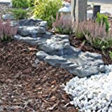 CLGarden Stone-effect Pond Cascade Kit DIY Waterfall grey granite 3 Parts Set endlessly expandable Stone Design Finish