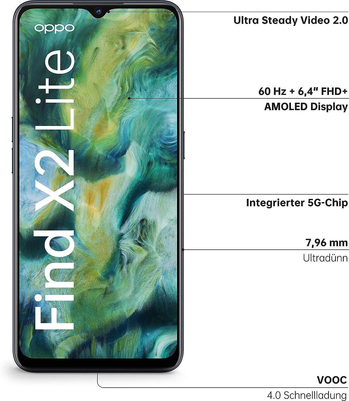 Oppo Find X2 Lite Smartphone 16 3 Cm 6 4 Zoll 128 Gb Interner Speicher 8 Gb Ram 4260mah Mit 30w Blitzladen 48mp Zoom Ultra Steady Quad Kamera Inkl Schutzcover Moonlight Black Elektronik