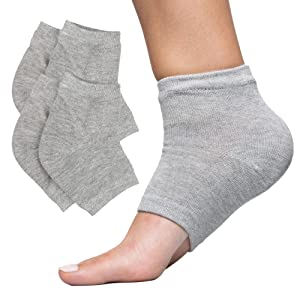 ZenToes Moisturizing Heel Socks 2 Pairs Gel Lined Toeless Spa Socks to Heal and Treat Dry, Cracked Heels While You Sleep (Men's Large 12+, Cotton Gray)