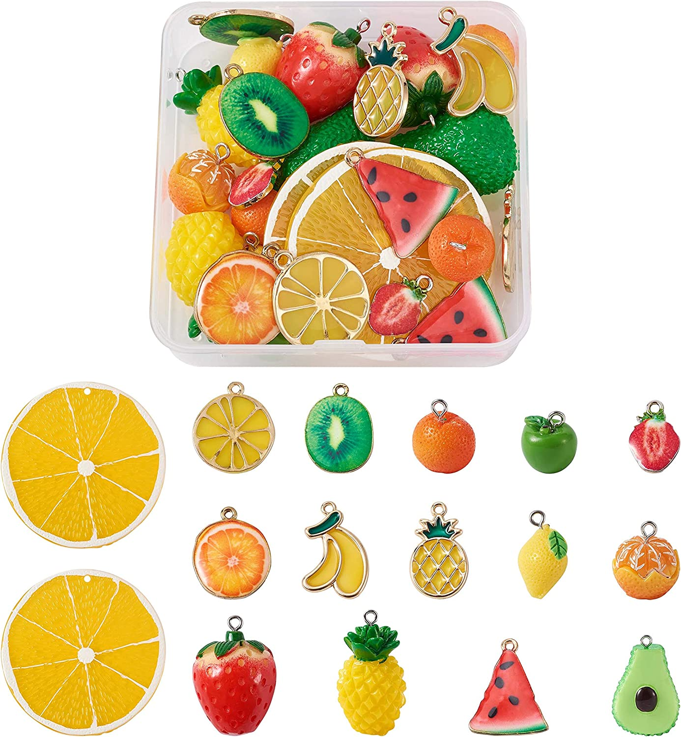 30pcs/Box Resin & Alloy Enamel Fruit Charms 15 Styles Apple Lemon Orange Pineapple Strawberry Dangle Pendants for DIY Necklace Bracelet Earrings Jewelry Making