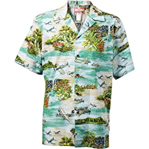 1c988349445 Island Aviation Men s Hawaiian Aloha Cotton Shirt in Navy Blue - S ...
