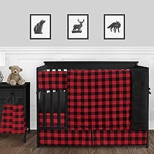 Sweet Jojo Designs Woodland Buffalo Plaid Check Baby Boy Nursery Crib Bedding Set - 5 Pieces - Red and Black Rustic Country Lumberjack