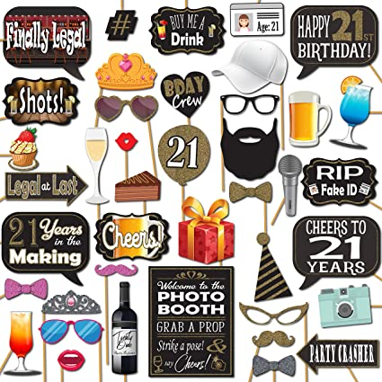 21st Birthday Party Photo Booth Props 41 Pieces