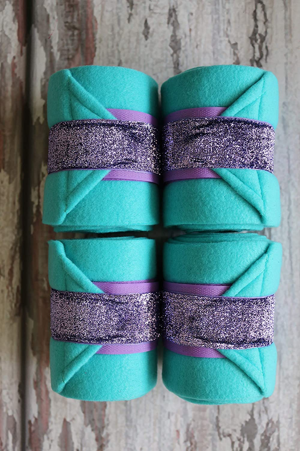 Polo Wraps//Stable Wraps Set of 4 Turquoise Base Purple Glitter