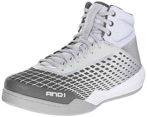 and 1 Men's Ascender Basketball Shoe, Bright White/Glacier Grey/Bright  White,