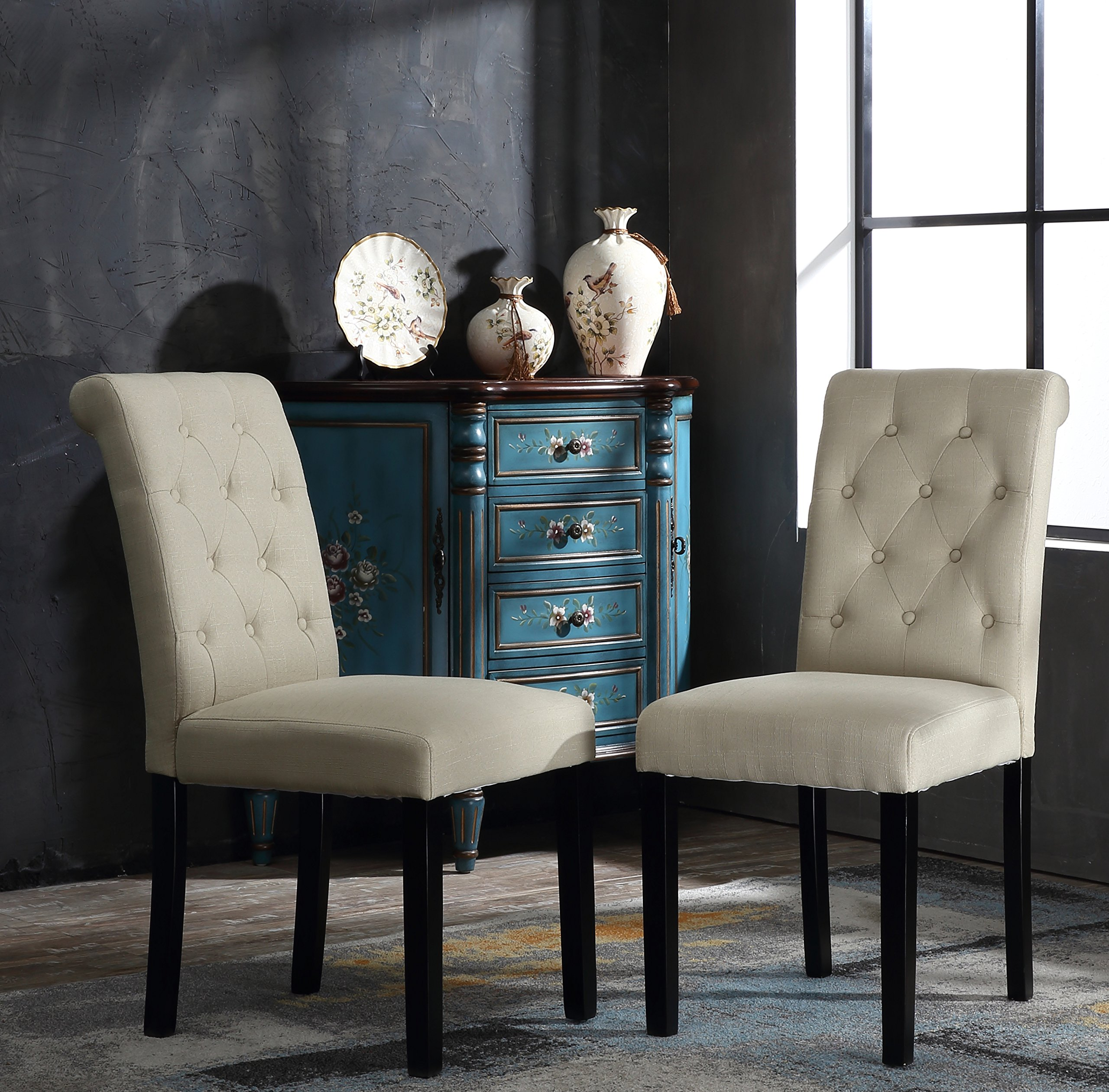 YEEFY Fabric Habit Solid Wood Tufted Parsons Dining Chair ...
