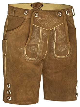 Trend-Promotion Austria Hombre Piel Pantalón Corto con Tirantes antikbraun, marrón Oscuros, Negro, Talla 46 – 60 Tracht Piel Pantalones de Traje ...
