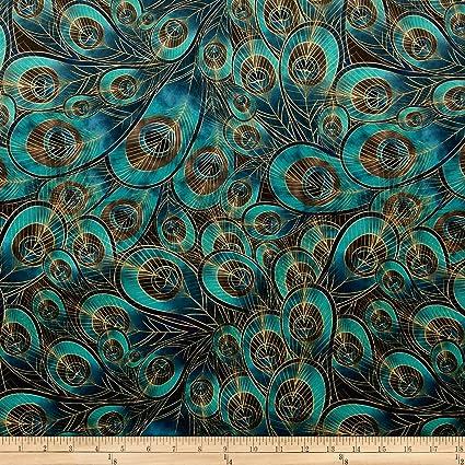 Amazon Com Fabric Morgan Peacock Feather Printed Velvet Yard Teal