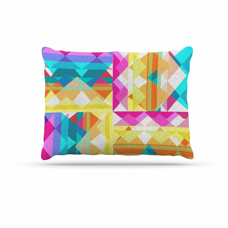 Kess InHouse Miranda Mol Triangle Checker  Pastel Rainbow Fleece Dog Bed, 30 by 40