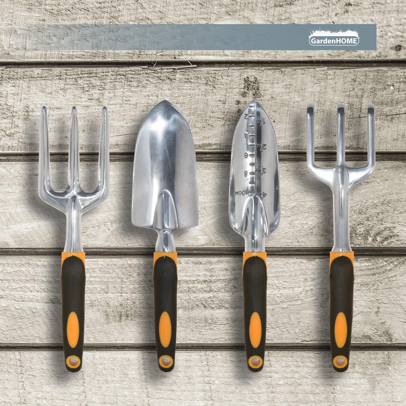GardenHOME Ergonomic Garden Tools 4 Piece Tool Set with Trowel,  Cultivator, Transplanter and  Weeding Fork