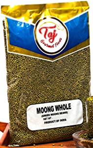 TAJ Premium Indian Moong Dal Whole, Mung Beans, (4-Pounds)