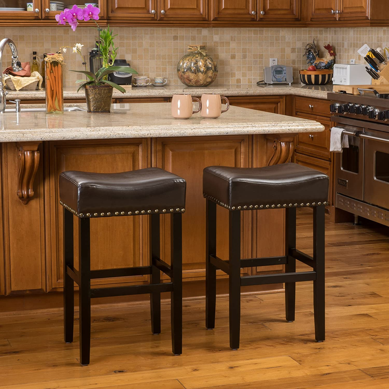 Christopher Knight Home 238537 Chantal Brown Leather Bar Stool (Set of 2)