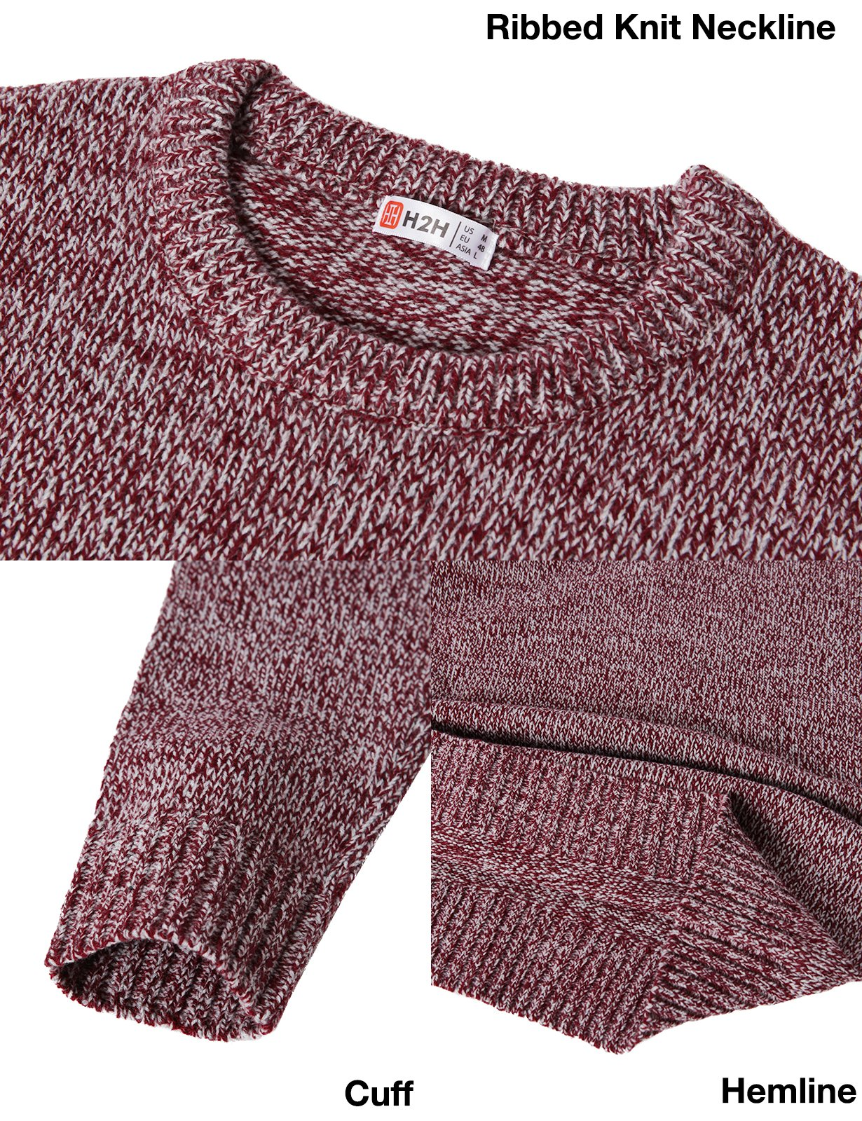 H2H Mens Slim Fit Basic Ribbed Thermal Turtleneck Pullover Sweaters Maroon US M/Asia L (KMOSWL0122) by H2H (Image #5)