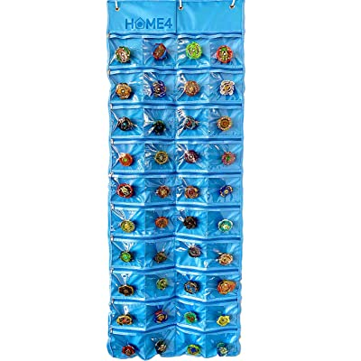 HOME4 Toy Hanging Over The Door Storage Bag - 40 Clear View Pockets - Roll Up for Easy Organizer - Save Space More Than Case Box - Compatible with Beyblade Hot Wheels and More (Blue): Toys & Games [5Bkhe0306601]