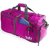 dd4968b9e810 Medium Gym Duffle Bag with Pockets - Foldable Lightweight Travel Bag (Pink)