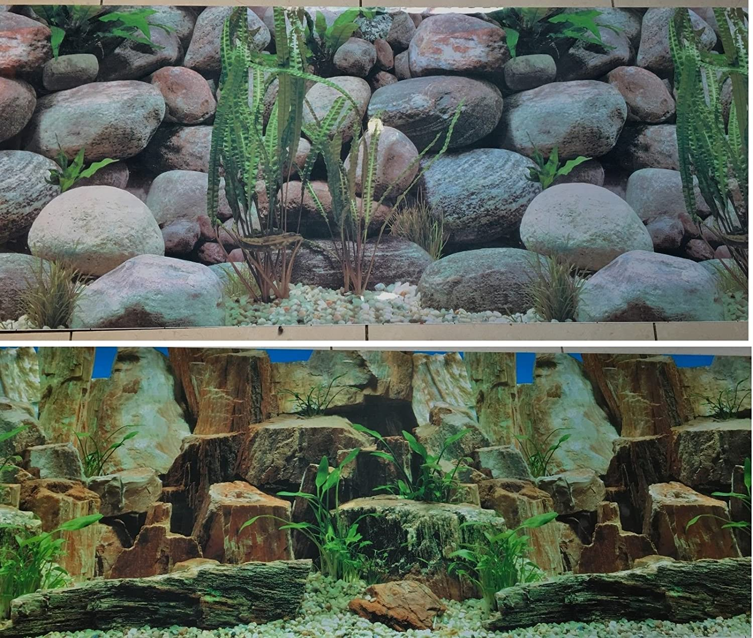 19 Inch Height Double Sided Aquarium Background Large Rocks Decorations Blue Aqua