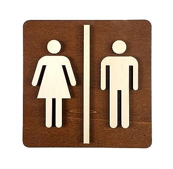 Bois multicolore 14 x 14 cm Avec pictogramme femme et homme Plaque de WC Bois