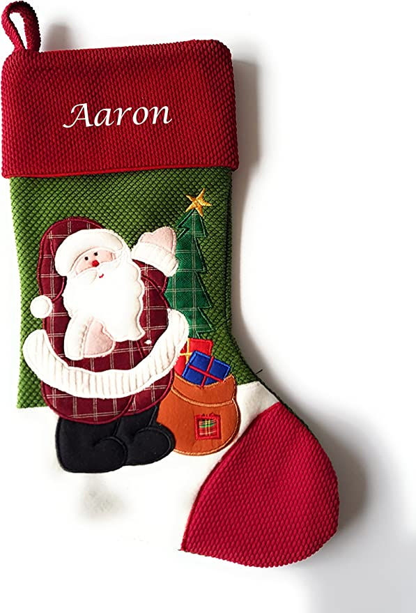 Scandinavian Christmas Stocking Personalised Christmas Stocking Boy Girl Family Kids Pets Modern Red Green Blue Striped Nordic Snow Boots