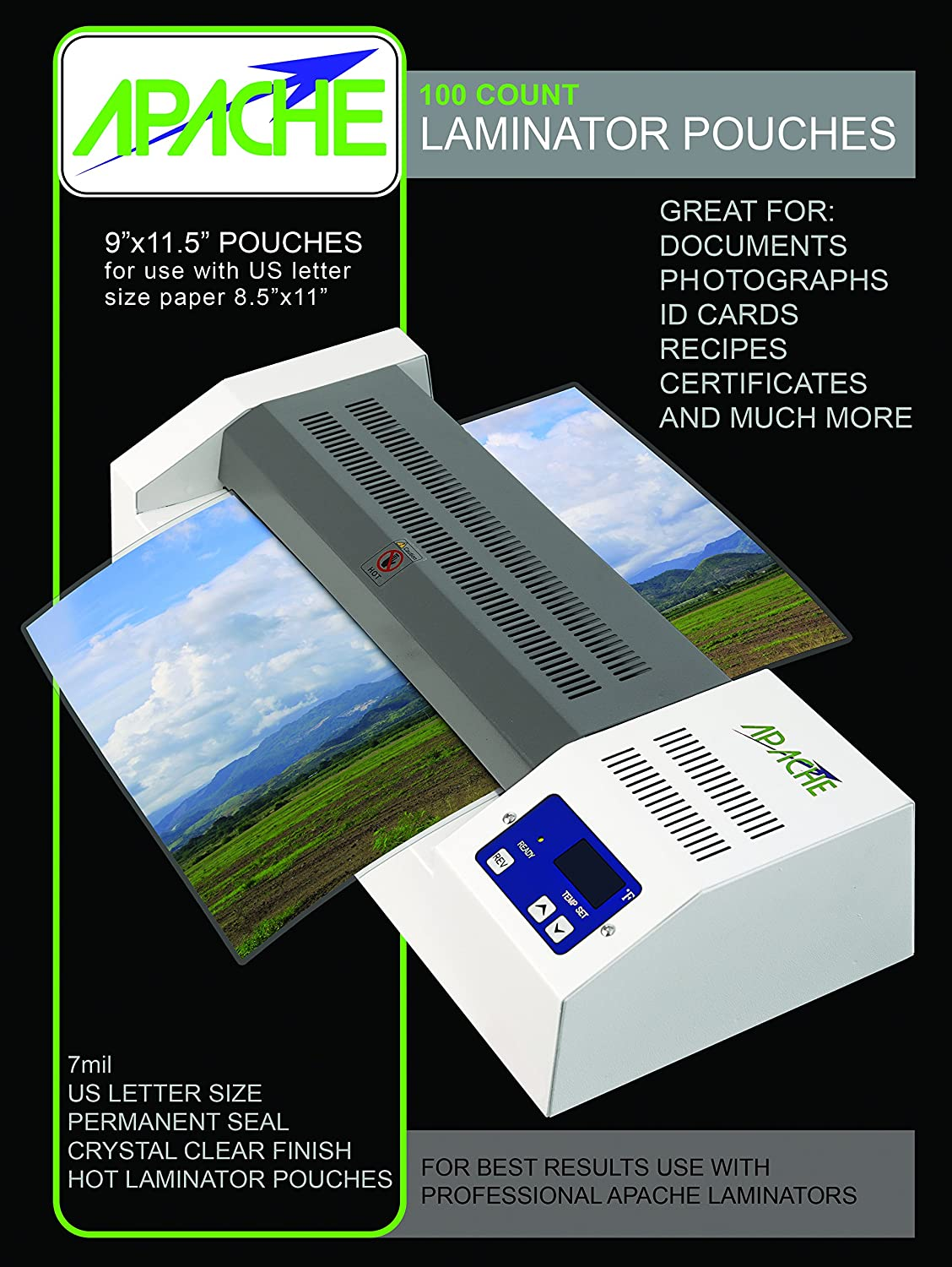 Apache Laminating Pouches, 5 mil (5mil, 4x6 Photo, 65 Pack)