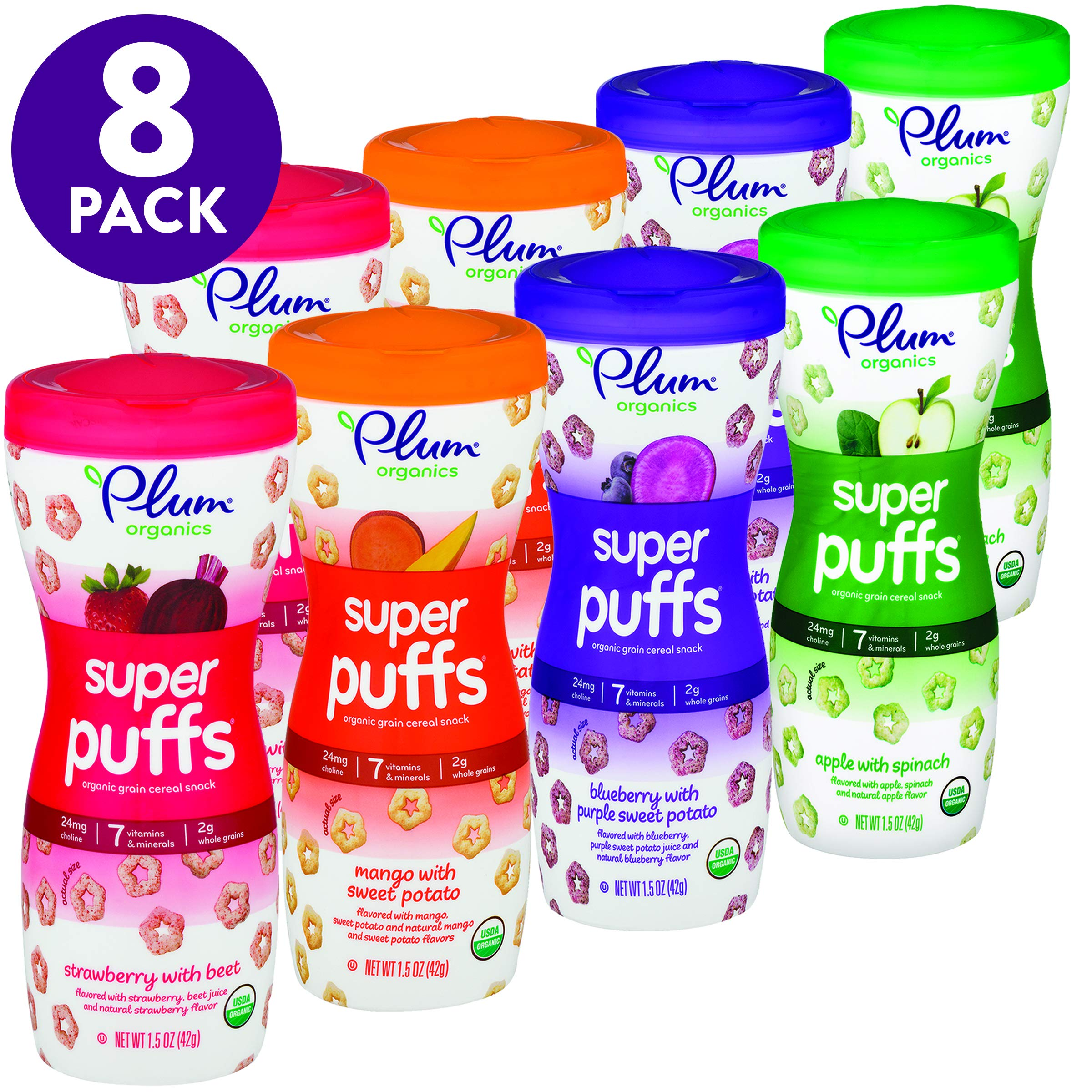 Plum Organics Super Puffs Variety Pack, 1.5 Ounce (Pack of 8) by Plum Organics