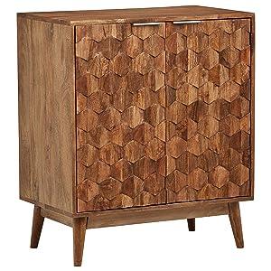 "Rivet Industrial Wood Bar Cabinet, 18""W, Mango, French Honey Gray"