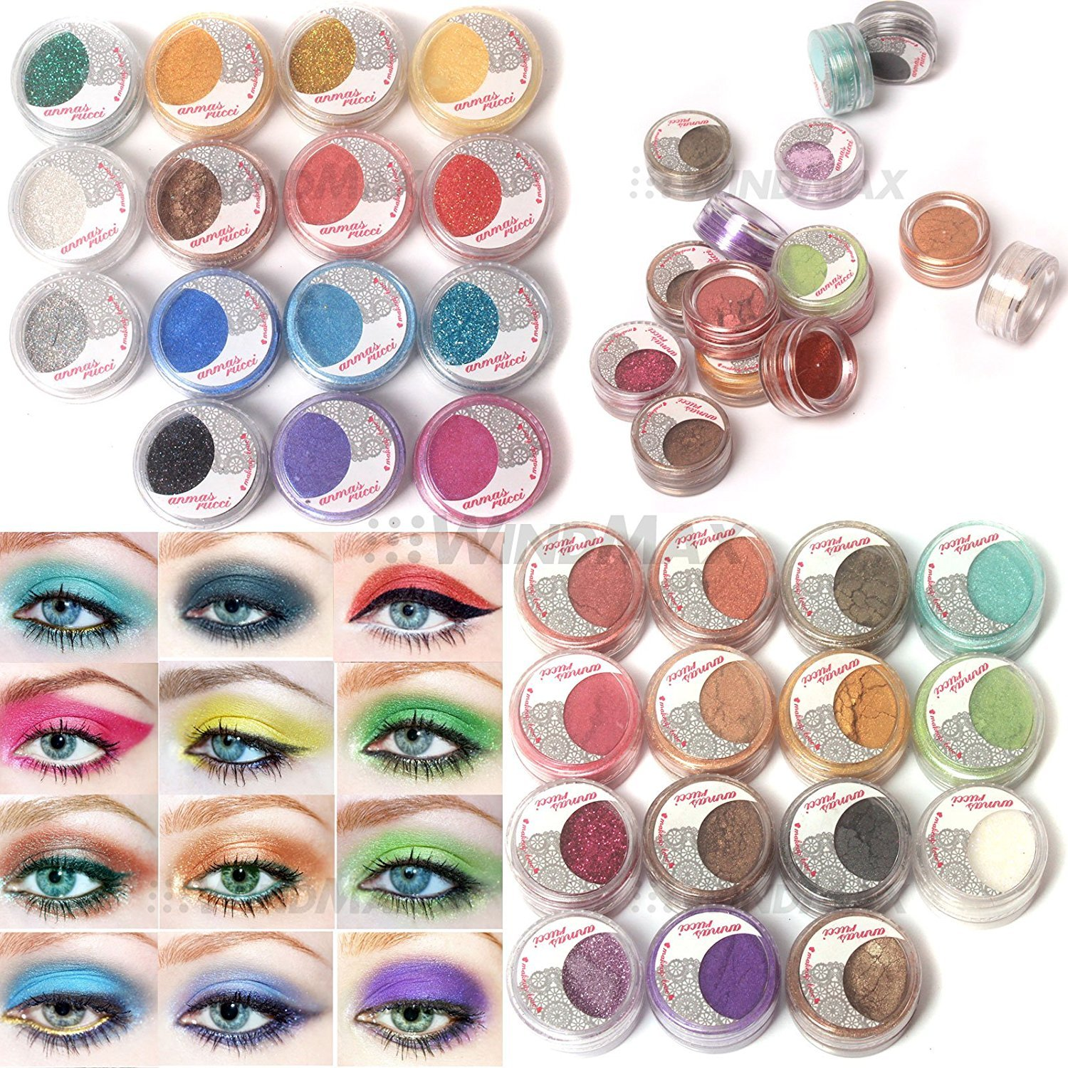 US Seller! Brithday Gift! Brand New 30 Mulit Color Cold Smoked Warmer Glitter Shimmer Pearl Loose Eyeshadow Pigments Mineral Eye Shadow Dust Powder Makeup Party Cosmetic Set WindMax