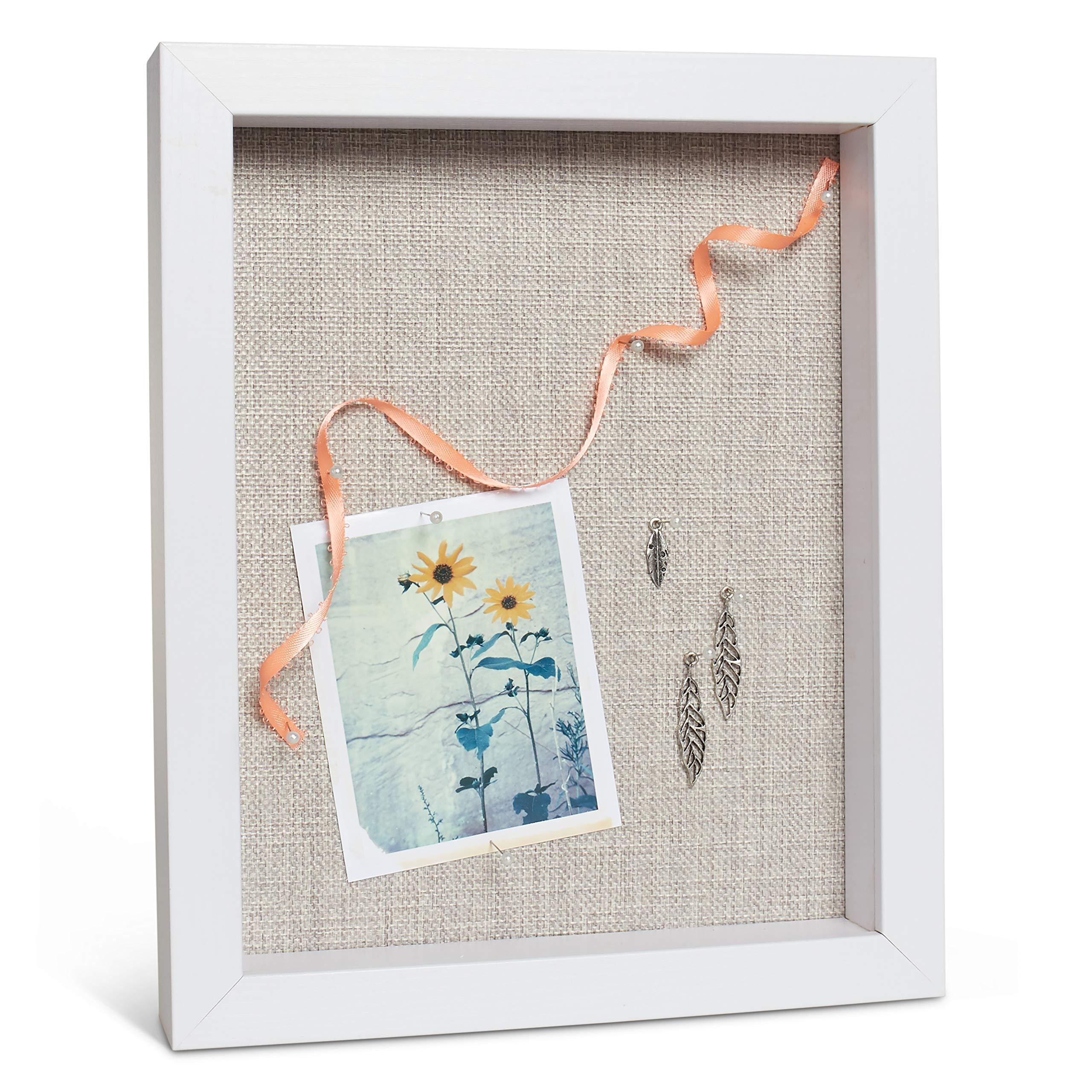 Wood Shadow Box Frame - Photo Display Case - Memorabilia/Memory/Picture/Medal/Memory Box - Hanging Shadowbox - Rustic Keepsake Display Center - Honeymoon/Wedding/Birthday Memory Displays (White) by Maika'i