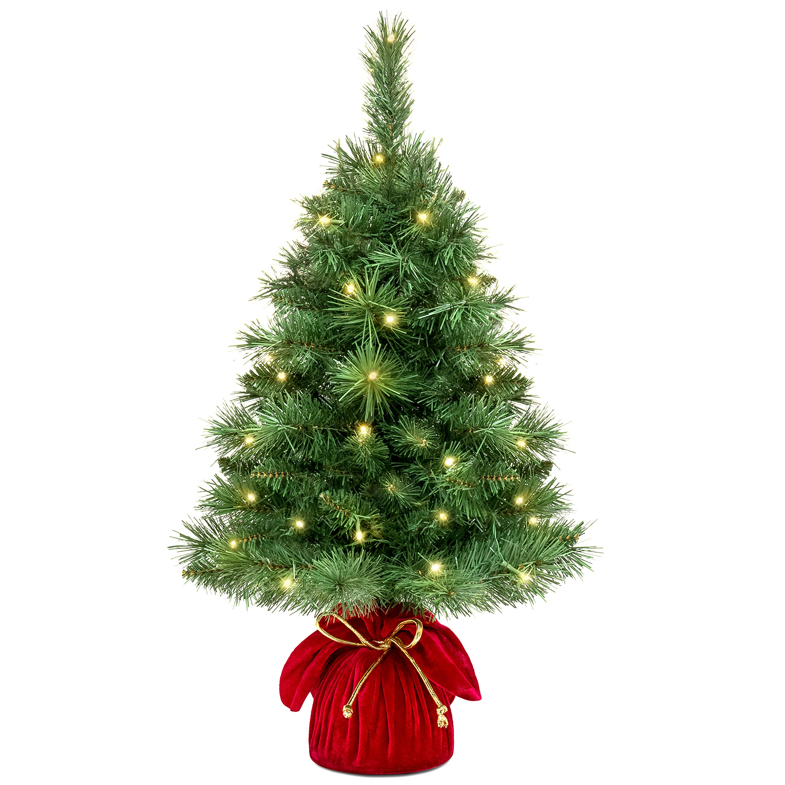 Best Choice Products 26in Pre-Lit Tabletop Fir Artifical Christmas Tree Decor w/ 35 UL Certified LED Lights, Extra Bulbs - Green