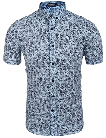 Coofandy Men's Floral Print Casual Short Sleeve Button Down Shirt ...