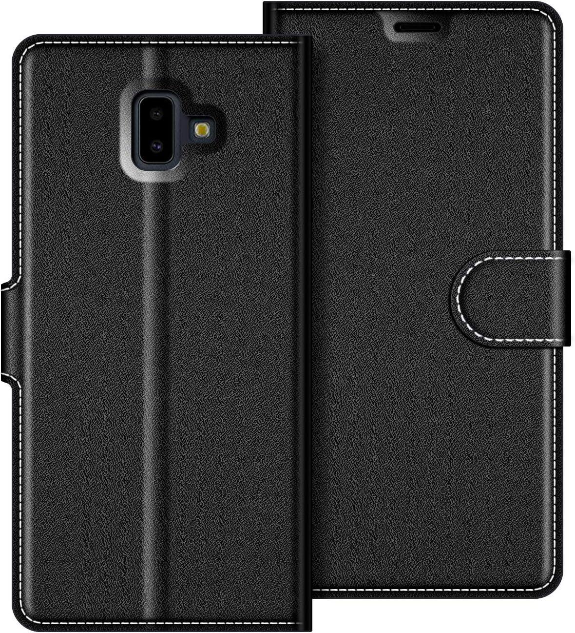 COODIO Funda Samsung Galaxy J6 Plus con Tapa, Funda Movil Samsung J6 Plus, Funda Libro Galaxy J6 Plus Carcasa Magnético Funda para Samsung Galaxy J6 Plus 2018, Negro