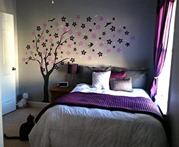 d330cb4bff1c PopDecors - Drifting flowers and birds (71inch H) - Custom Beautiful Tree  Wall Decals