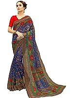 Glory Sarees Women's Silk Saree With Blouse Piece (Vnart03, Blue, Free Size)
