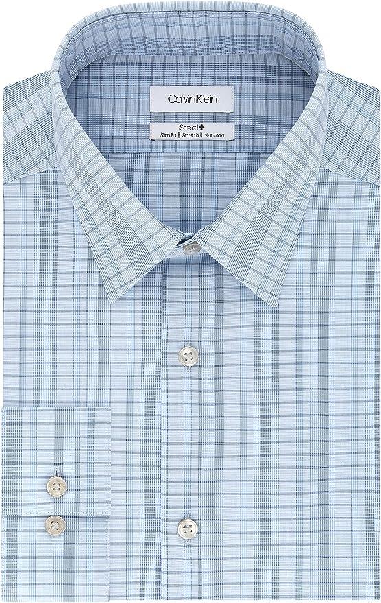 Calvin Klein Dress Shirts Non Iron Slim Fit Stretch Check Camisa de Vestir, Azul De Delft, M para Hombre: Amazon.es: Ropa y accesorios