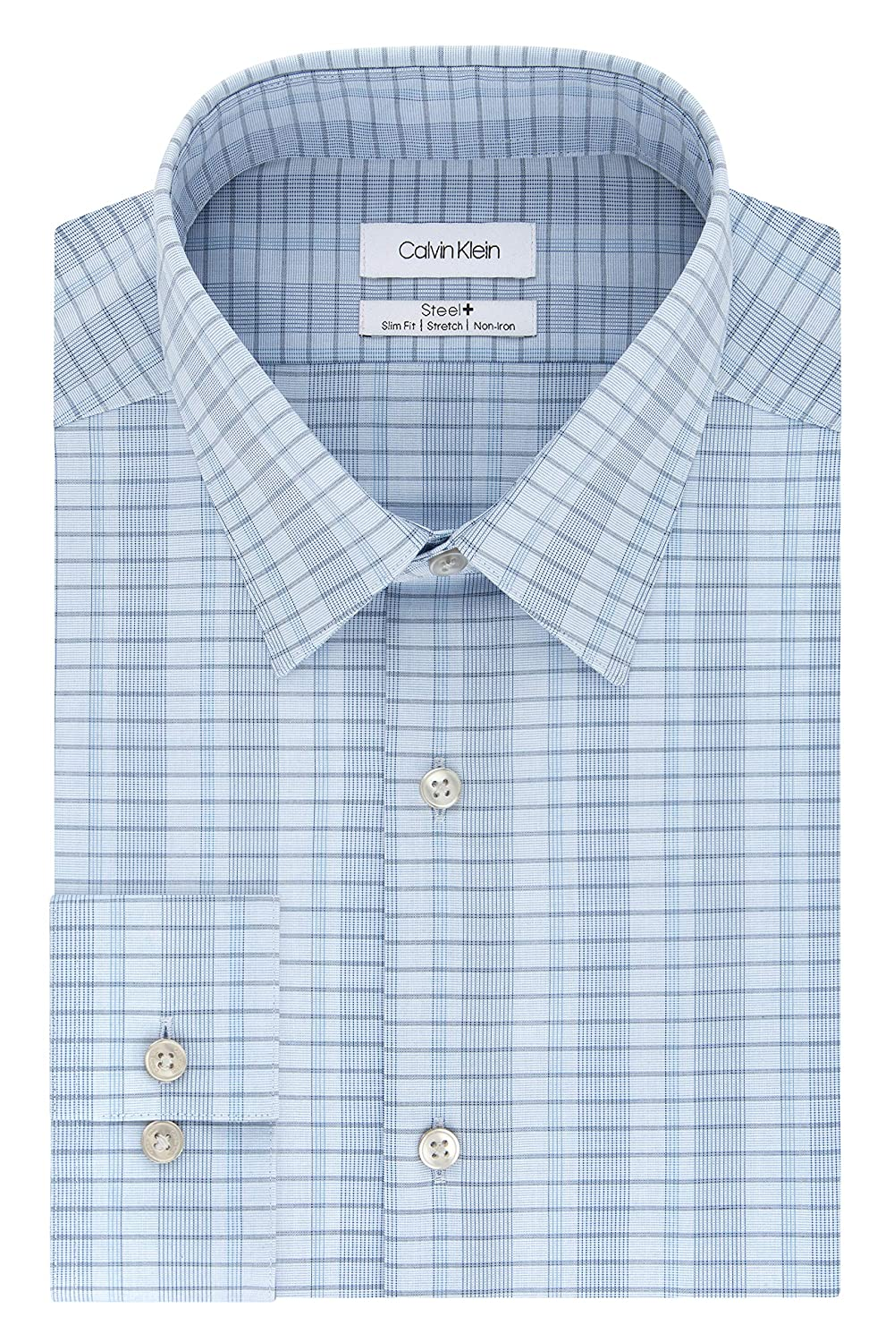 Calvin Klein Dress Shirts Non Iron Slim Fit Stretch Check Camisa ...